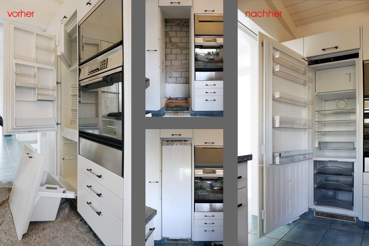 Austausch eine Kühlschrankes in vier Schritten: Altes Gerät, leere Lücke, neues Gerät (ohne montierte Küchenfront), neues Gerät mit geöffneter Kühlschranktür.
