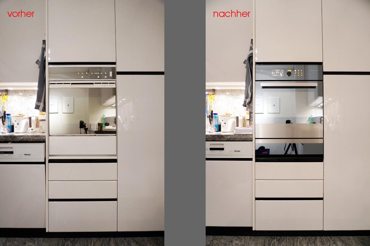 Ausgetauschter Backofen. Das neue Gerät fügt sich nahtlos ins Küchendesign ein.