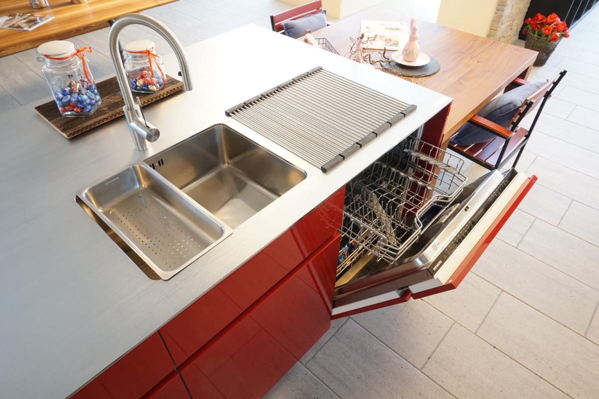 Arbeitsfläche aus Chromstahl (Ice Design), Geschirrspühler: Siemens SD6PW1S