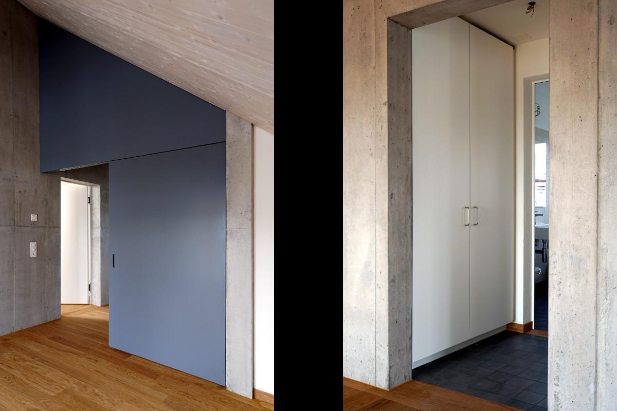 Schiebetür und Einbauschrank in moderner Wohnung