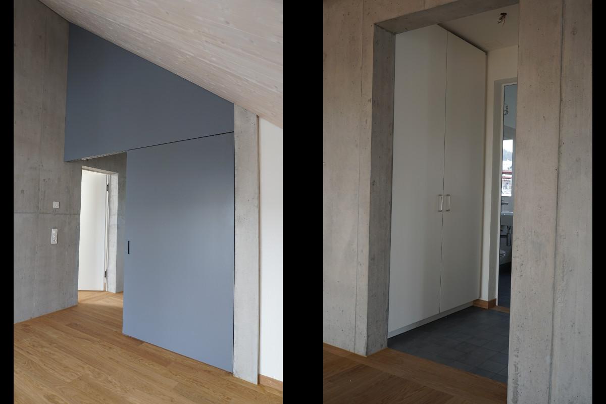 Schiebetüre in Dachzimmer und ein Einbauschrank zwischen zwei Zimmertüren