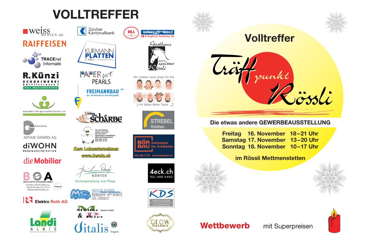 Träffpunkt Rössli Flyer mit Firmen-Logos