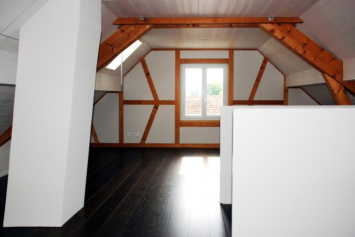 Ausgebautes Zimmer im Dachstock