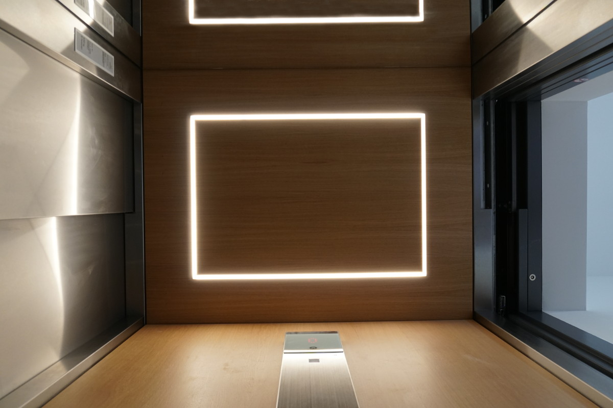 Frosch-Perspektive: Eingelassene LED-Leuchten in der Deckenverkleidung aus Eichenholzfurnier