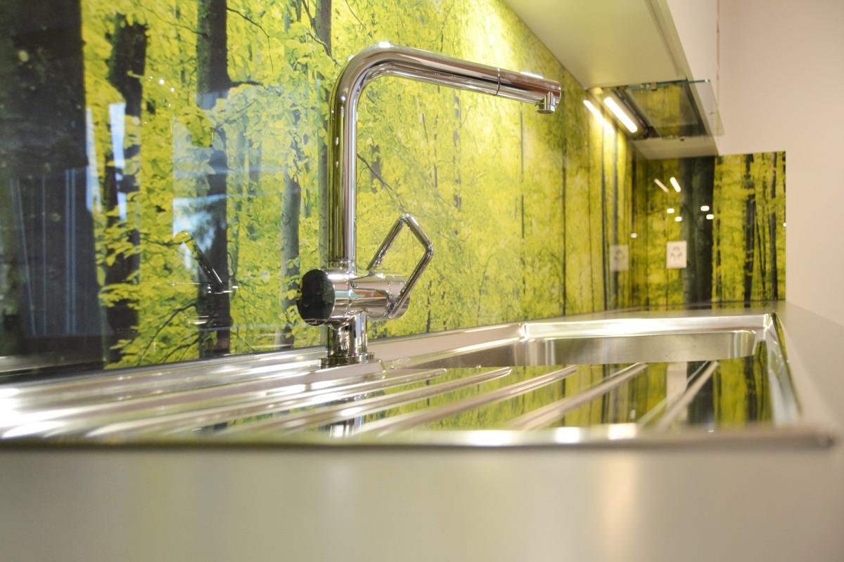 Bedruckte Glasrückwand mit Waldmotiv